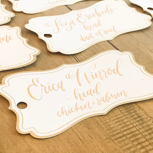 Place card tag with gold ink