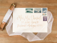 Gold calligraphy envelope addressing
