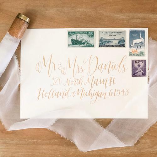 Calligraphy adressed envelope