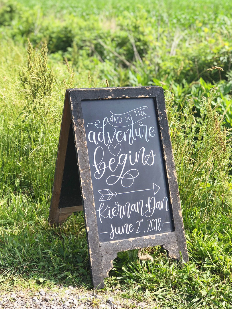 wedding signage ohio calligraphy chalkboard rustic adventure