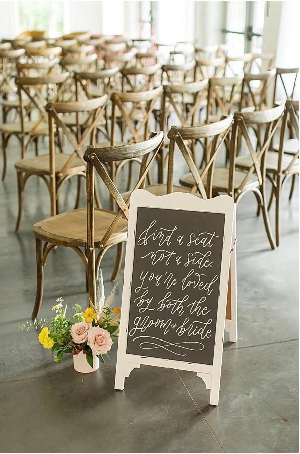 Crimson Lane Venue Ada Ohio Wedding Sign Ceremony Sign Chalkboard Modern Wedding Floral