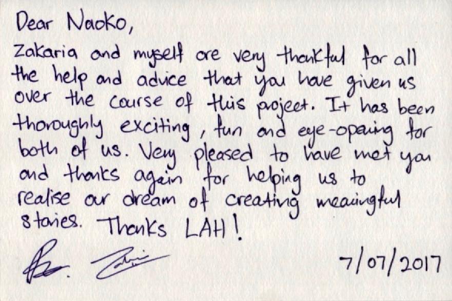 Prabhuさんからいただいたお礼のカード