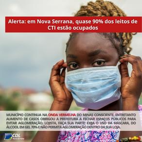 Alerta: quase 90% dos leitos CTI estão ocupados em Nova Serrana