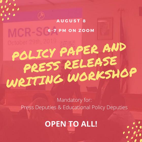 Policy Paper/Press Release Workshop Recap