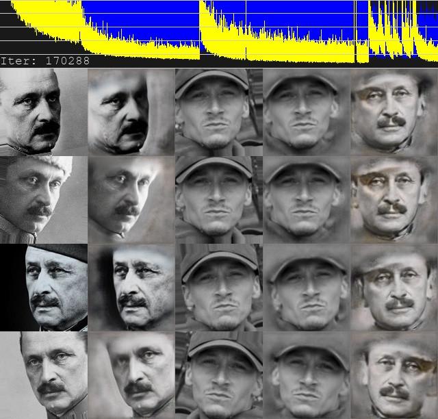 Deeface algoritmi tutkii Jonin ja Mannerheimin naamoja. Ollaan menossa 170 tuhannennella iteraatiolla algoritmista.