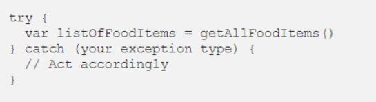 Đoạn mã lớp UI sử dụng ngoại lệ