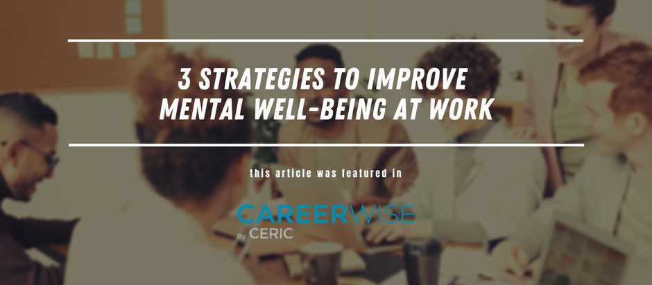 3 strategies to improve mental well-being at work