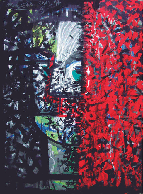 """Cortina roja"" Año:1997 Téc.: pigmentos / papel arte"