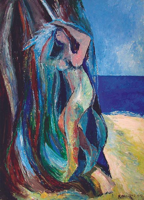 """""""Mujer duchándose en Los Caños de Meca"""", Año:1992 Téc.: óleo s/ cartón"""