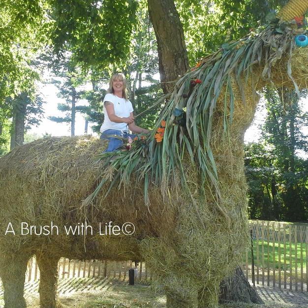 Giant Hay Unicorn Sculpture