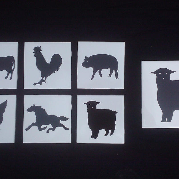 Farm Animal Silhouette Tiles