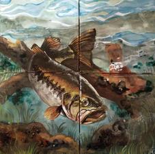 Largemouth Bass Tile Mural