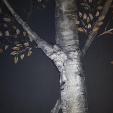 Raised Plaster Birch Tree with Metallic Leaves