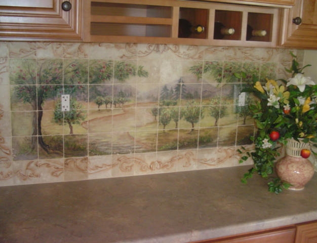 Apple Orchard Natural Stone Tile Mural