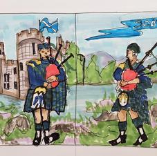 Scotland window mural layout