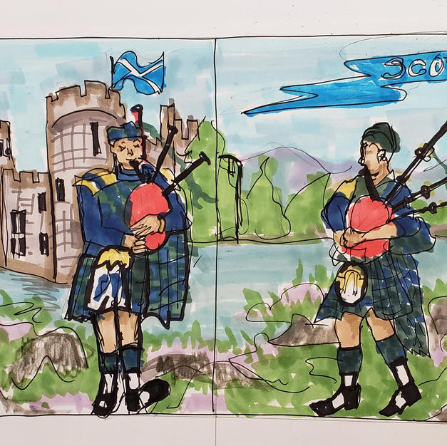 Scotland window mural layout