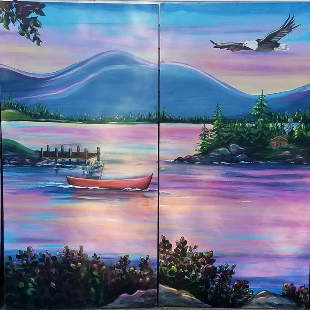 Camp Restaurant Window Mural