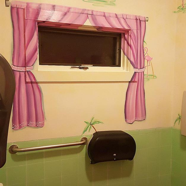 Trompe L'oeil Curtain, Tile, Wallpaper