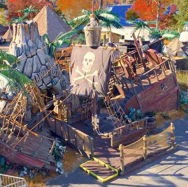 Pirate Ship Drone Shot Canobie Lake Park