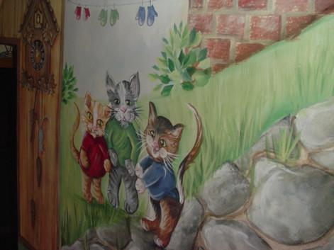 three little kittens stairway mural educ