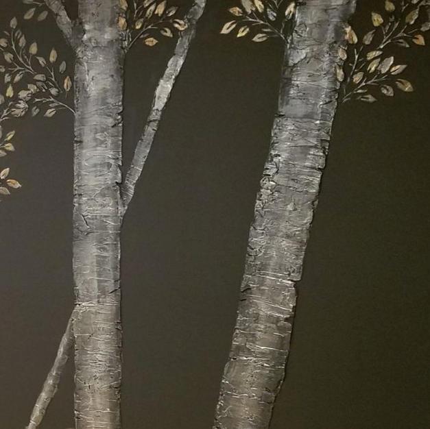 Raised Plaster Trees at Studio Vie Salon