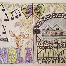 New Orleans window mural layout