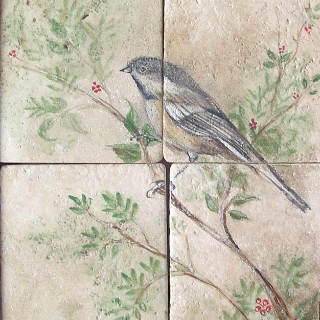 Chickadee on Tumbled Travertine