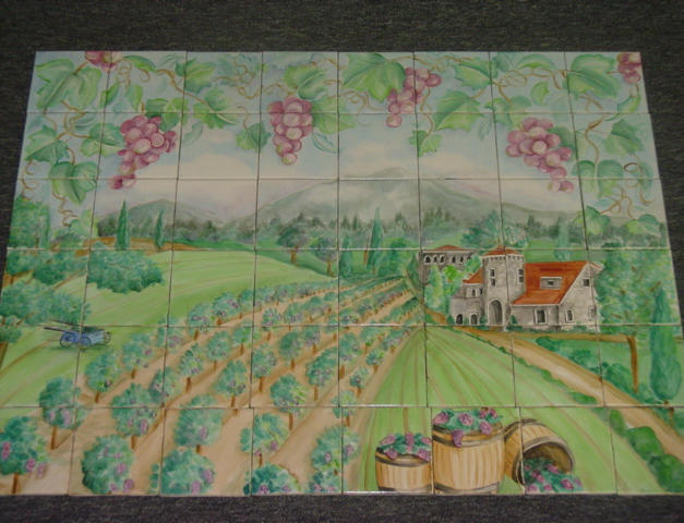 "Wine Country Overglaze on 4 1/4"" Tile"
