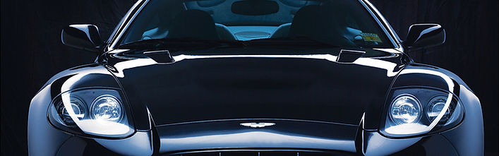 Aston Martin with blue tinted glass