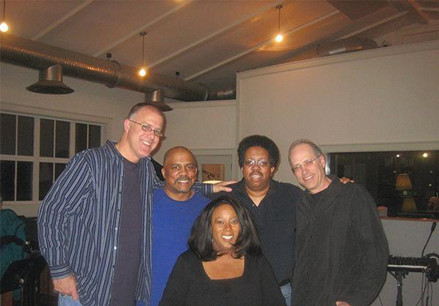 Recording with Jill Hughes: (L-R) Jon Werking, Phil Hamilton, Jill, Buddy Williams, Me