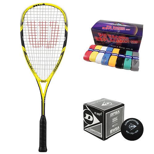 Wilson Ripper 140 Racket + Ball + PU Grip Bundle