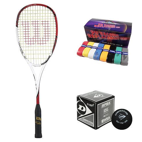 Wilson Tour BLX Racket + Ball + PU Grip Bundle