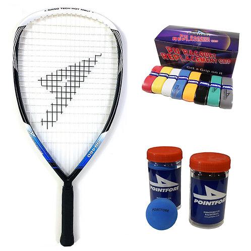 Pointfore RB460 Racket + Ball + PU Grip Bundle