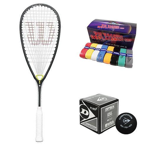 Wilson Whip 145 Racket + Ball + PU Grip Bundle