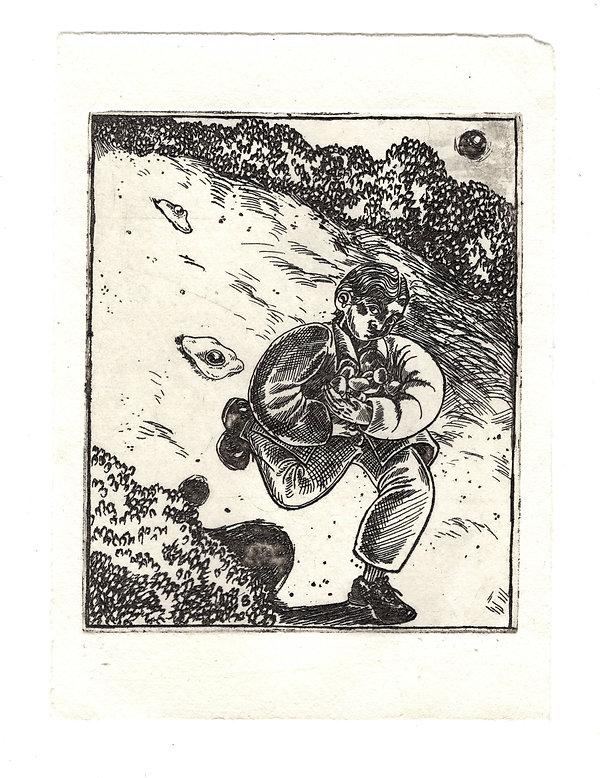 Egg Thief, 10x12cm, etching on watercolo