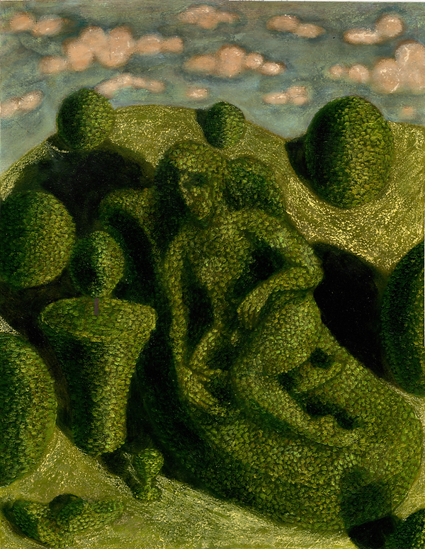 Topiary 23, pastel, pencil, and oil on A