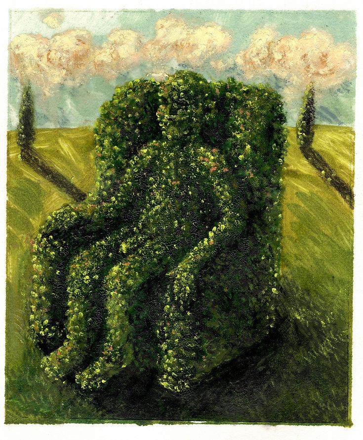 Topiary 8, 10.5 x 12.5cm, oil monotype a