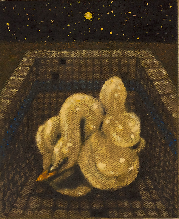 Pool Inflatable by Night, pastel, pencil