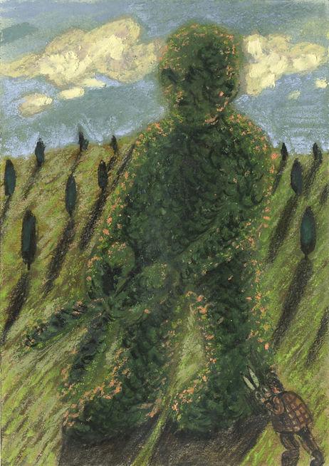Topiary 3, pastel on paper, 14.8 x 10cm.