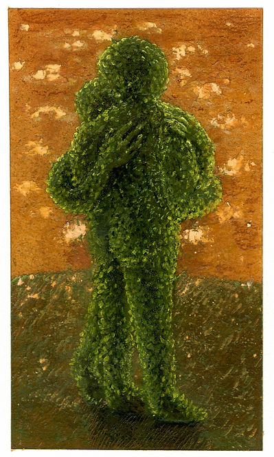 Topiary 14, pastel, pencil, and oil on A