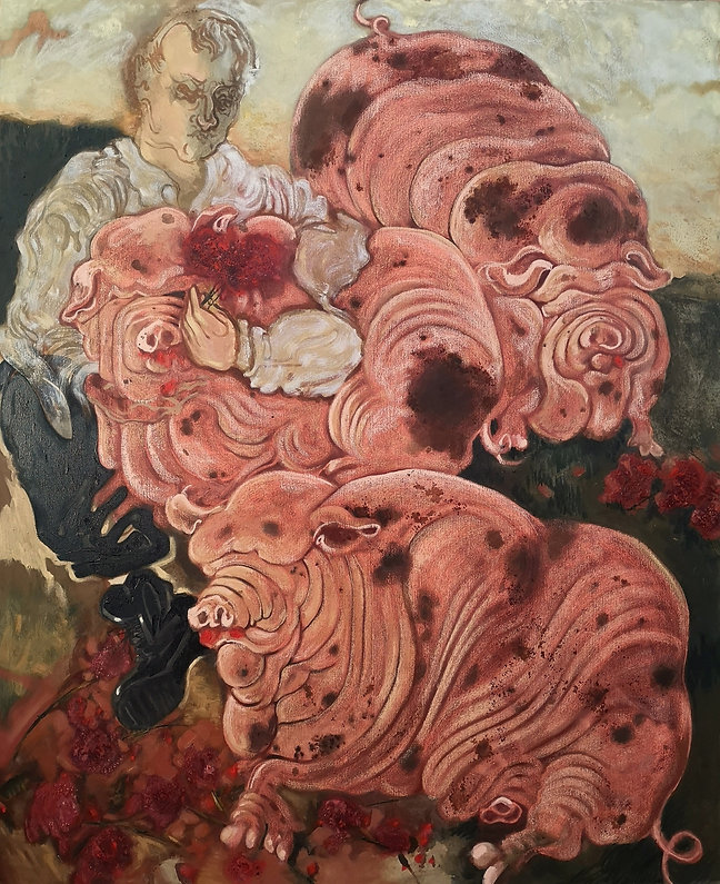 Roses for Pigs_oil and pastel on canvas_