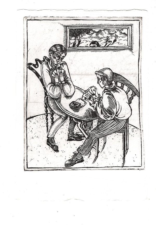 Card Players, etching on Fabriano paper,