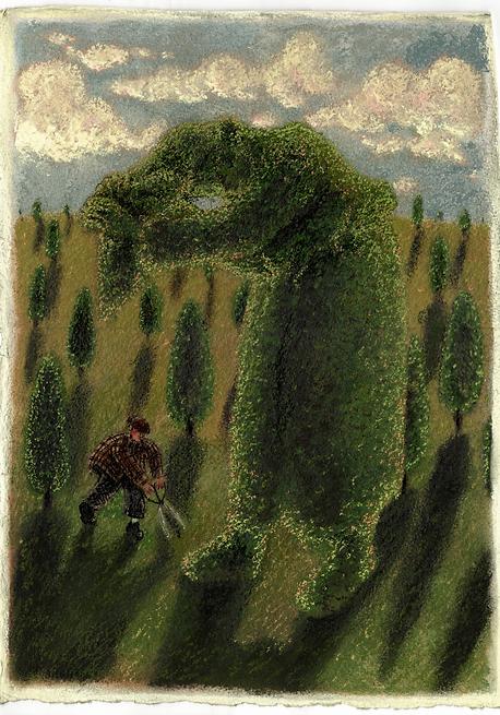 Topiary 4, 28cm x 39cm, soft pastel on p
