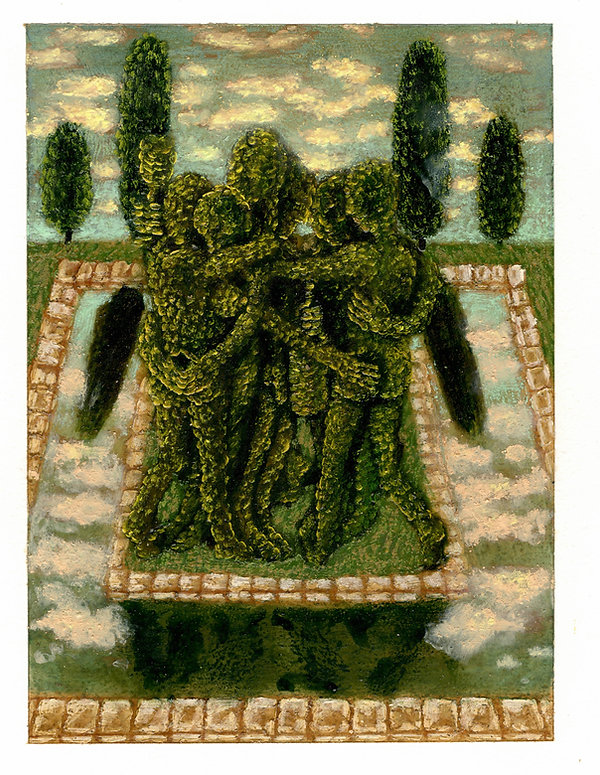 Topiary 21, pastel, pencil and oil on Ar