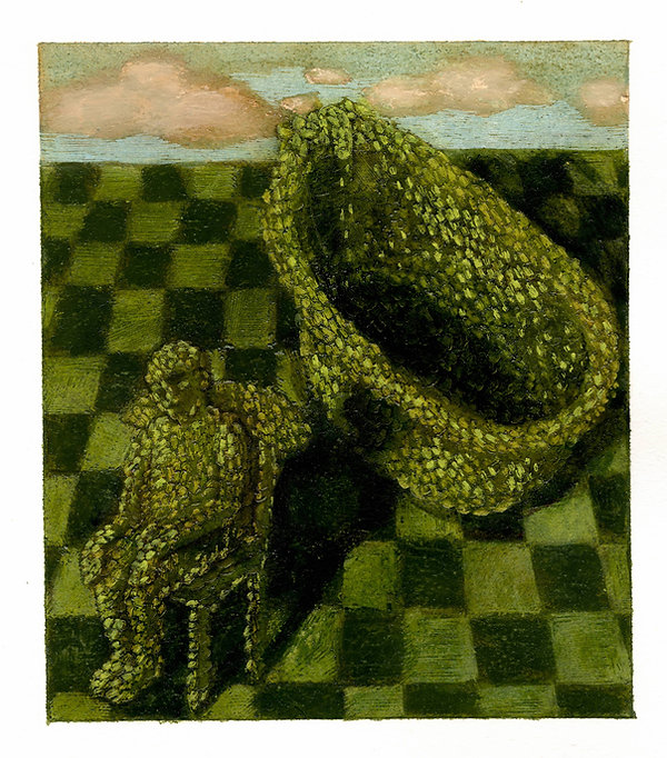 Topiary 18, pastel, pencil and oil on Ar