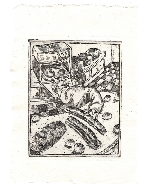 Baker, etching on watercolour paper, 11.