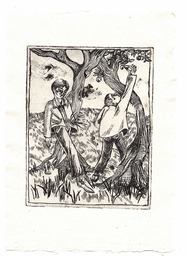 Foragers, 11x14.5cm, etching on watercol