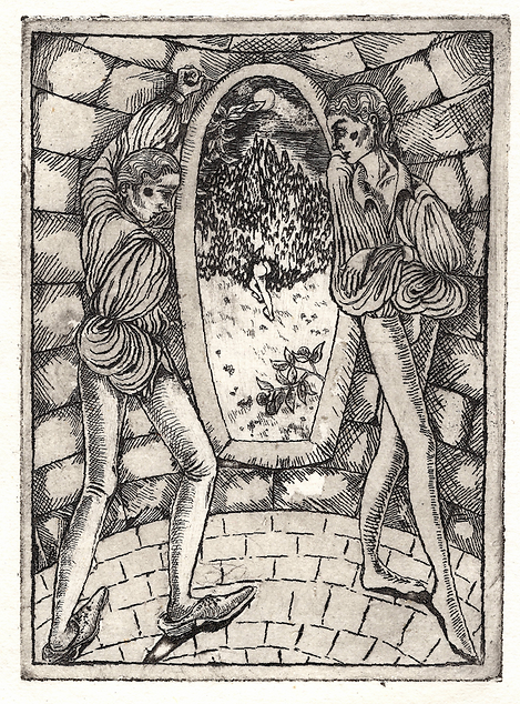Knights' Tale, etching on watercolour pa