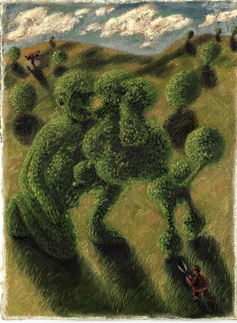 Topiary 6, 28cm x 38cm, soft pastel on p