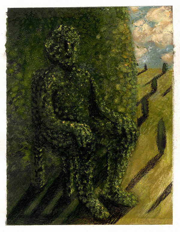 Topiary 7, 11 x 14.5 cm, oil monotype an